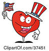 Clipart Illustration Of A Happy Red Heart Character In A Patriotic Hat Waving An American Flag by Hit Toon