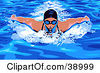 Clipart Illustration Of A Woman In Goggles And A Swim Cat Doing The Butterfly While Swimming by Tonis Pan