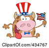 Royalty Free RF Clipart Illustration Of A Patriotic Cow Holding An American Flag 1 by Hit Toon