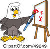 Royalty Free RF Clipart Illustration Of A Bald Eagle Character Painting by Toons4Biz