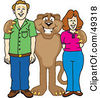 Royalty Free RF Clipart Illustration Of A Cougar Mascot Character With Adults by Toons4Biz