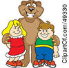 Royalty Free RF Clipart Illustration Of A Cougar Mascot Character With Children by Toons4Biz