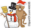 Royalty Free RF Clipart Illustration Of A Cougar Mascot Character With A Snowman by Toons4Biz