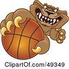 Royalty Free RF Clipart Illustration Of A Cougar Mascot Character Grabbing A Basketball by Toons4Biz