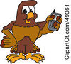 Royalty Free RF Clipart Illustration Of A Falcon Mascot Character Holding A Cell Phone by Toons4Biz