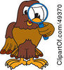 Royalty Free RF Clipart Illustration Of A Falcon Mascot Character Using A Magnifying Glass by Toons4Biz