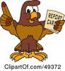 Royalty Free RF Clipart Illustration Of A Falcon Mascot Character Holding A Report Card by Toons4Biz