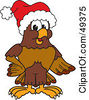 Royalty Free RF Clipart Illustration Of A Falcon Mascot Character Wearing A Santa Hat by Toons4Biz