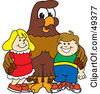 Royalty Free RF Clipart Illustration Of A Falcon Mascot Character With Children by Toons4Biz