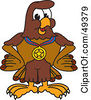 Royalty Free RF Clipart Illustration Of A Falcon Mascot Character Wearing A Medal by Toons4Biz