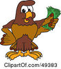 Royalty Free RF Clipart Illustration Of A Falcon Mascot Character Holding Cash by Toons4Biz