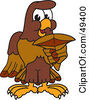 Royalty Free RF Clipart Illustration Of A Falcon Mascot Character Holding A Shark Tooth by Toons4Biz