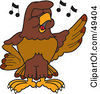 Royalty Free RF Clipart Illustration Of A Falcon Mascot Character Singing by Toons4Biz