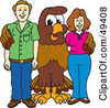 Royalty Free RF Clipart Illustration Of A Falcon Mascot Character With Adults by Toons4Biz
