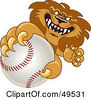 Royalty Free RF Clipart Illustration Of A Lion Character Mascot Grabbing A Baseball by Toons4Biz