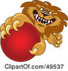 Royalty Free RF Clipart Illustration Of A Lion Character Mascot Grabbing A Red Ball by Toons4Biz