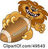 Royalty Free RF Clipart Illustration Of A Lion Character Mascot Grabbing A Football by Toons4Biz