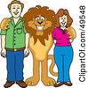Royalty Free RF Clipart Illustration Of A Lion Character Mascot With Adults by Toons4Biz