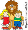 Royalty Free RF Clipart Illustration Of A Lion Character Mascot With Students by Toons4Biz