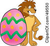 Royalty Free RF Clipart Illustration Of A Lion Character Mascot With An Easter Egg by Toons4Biz