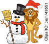 Royalty Free RF Clipart Illustration Of A Lion Character Mascot With A Snowman by Toons4Biz