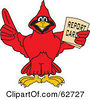 Royalty Free RF Clipart Illustration Of A Red Cardinal Character School Mascot Holding A Report Card by Toons4Biz