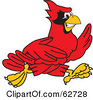Royalty Free RF Clipart Illustration Of A Red Cardinal Character School Mascot Running by Toons4Biz