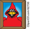 Royalty Free RF Clipart Illustration Of A Red Cardinal Character School Mascot Portrait by Toons4Biz