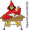Royalty Free RF Clipart Illustration Of A Red Cardinal Character School Mascot Doing Homework At A Desk by Toons4Biz