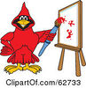 Royalty Free RF Clipart Illustration Of A Red Cardinal Character School Mascot Painting A Canvas by Toons4Biz