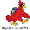 Royalty Free RF Clipart Illustration Of A Red Cardinal Character School Mascot Walking To School by Toons4Biz