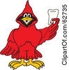 Royalty Free RF Clipart Illustration Of A Red Cardinal Character School Mascot Holding A Tooth by Toons4Biz