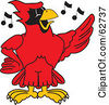 Royalty Free RF Clipart Illustration Of A Red Cardinal Character School Mascot Singing by Toons4Biz