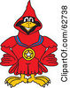 Royalty Free RF Clipart Illustration Of A Red Cardinal Character School Mascot Wearing A Medal by Toons4Biz