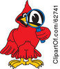 Royalty Free RF Clipart Illustration Of A Red Cardinal Character School Mascot Using A Magnifying Glass by Toons4Biz