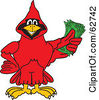 Royalty Free RF Clipart Illustration Of A Red Cardinal Character School Mascot Holding Cash by Toons4Biz
