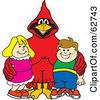 Royalty Free RF Clipart Illustration Of A Red Cardinal Character School Mascot With Students by Toons4Biz