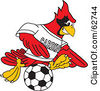 Royalty Free RF Clipart Illustration Of A Red Cardinal Character School Mascot Kicking A Soccer Ball by Toons4Biz