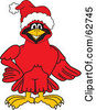 Royalty Free RF Clipart Illustration Of A Red Cardinal Character School Mascot Wearing A Santa Hat by Toons4Biz
