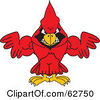 Royalty Free RF Clipart Illustration Of A Red Cardinal Character School Mascot With Strong Arms by Toons4Biz