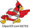Royalty Free RF Clipart Illustration Of A Red Cardinal Character School Mascot Playing American Football by Toons4Biz