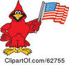 Royalty Free RF Clipart Illustration Of A Red Cardinal Character School Mascot With An American Flag by Toons4Biz