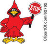 Royalty Free RF Clipart Illustration Of A Red Cardinal Character School Mascot Holding A Stop Sign by Toons4Biz