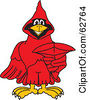 Royalty Free RF Clipart Illustration Of A Red Cardinal Character School Mascot Pointing Outwards by Toons4Biz