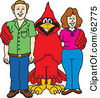 Royalty Free RF Clipart Illustration Of A Red Cardinal Character School Mascot With Teachers Or Parents by Toons4Biz