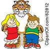 Royalty Free RF Clipart Illustration Of A Tiger Character School Mascot With Students by Toons4Biz