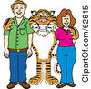 Royalty Free RF Clipart Illustration Of A Tiger Character School Mascot With Teachers Or Parents by Toons4Biz