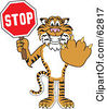 Royalty Free RF Clipart Illustration Of A Tiger Character School Mascot Holding A Stop Sign by Toons4Biz