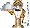 Royalty Free RF Clipart Illustration Of A Tiger Character School Mascot Serving Food by Toons4Biz