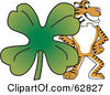 Royalty Free RF Clipart Illustration Of A Tiger Character School Mascot With A Clover by Toons4Biz